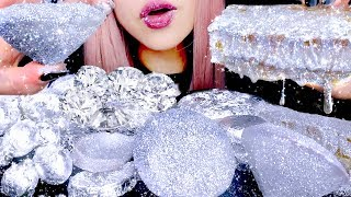 ASMR Diamond Silver Honeycomb, Chocolate, Donuts, Aloe Vera | Eating Sounds