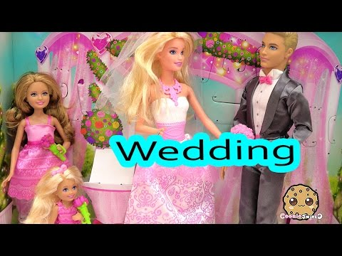 Thumbnail: Barbie Playset Bride Dolls Wedding Day Bridal Party with Groom Ken Flower Girl Bridesmaid