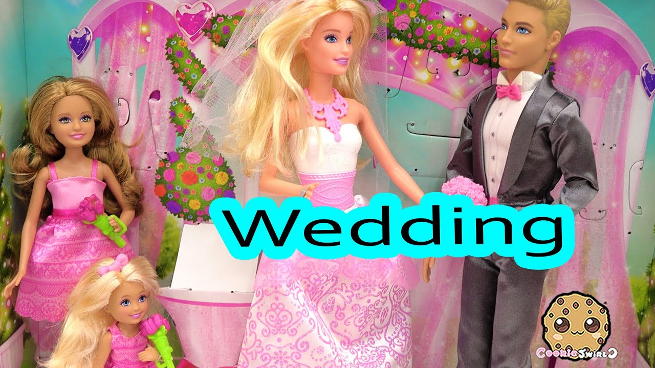 Barbie Playset Bride Dolls Wedding Day Bridal Party with Groom Ken