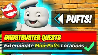 Exterminate mini-Pufts with a Pickaxe in Sludgy Swamp, Lazy Lake or Retail Row Locations (Fortnite)