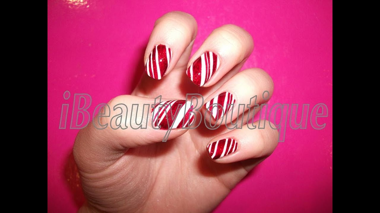 Christmas candy cane nail art ibeautyboutique youtube prinsesfo Choice Image