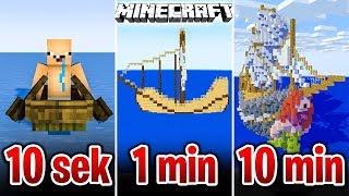 Minecraft BUDUJĘ STATEK W 10 SEKUND, 1 MINUTĘ I 10 MINUT!
