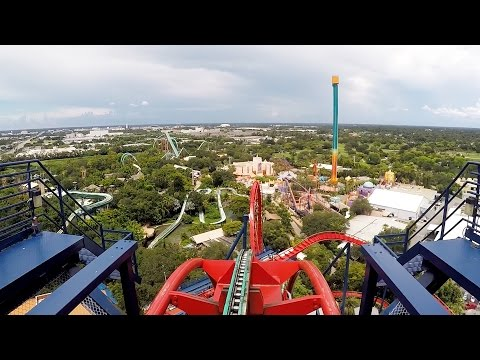 SheiKra Front Row POV Ride at Busch Gardens Tampa Bay on Roller Coaster Day 2016, Dive Coaster
