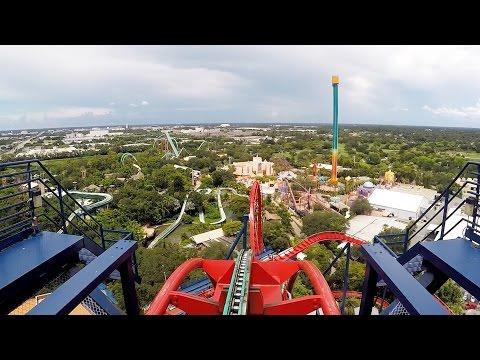 SheiKra Front Row POV Ride at Busch Gardens Tampa Bay on Roller Coaster Day 2016, Dive Coaster