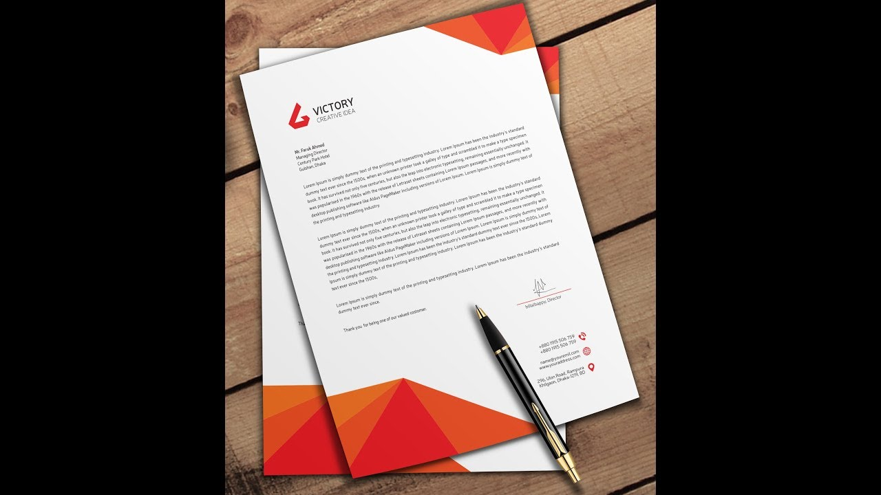 how to make letterhead in photoshop youtube