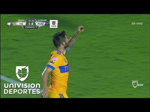 Gignac aprovecha un mal rechace de Pumas y se apunta el 2-0
