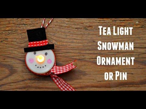 Tea Light Snowman Ornament It Lights Up Youtube