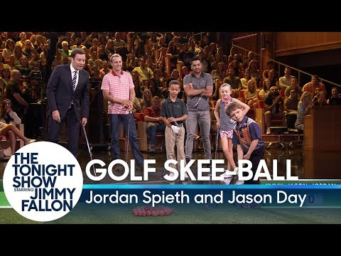 Kid Golfers Play Golf Skee-Ball Against PGA Stars Jordan Spieth and Jason Day