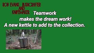 New stainless steel kettle, teamwork firelighting.
