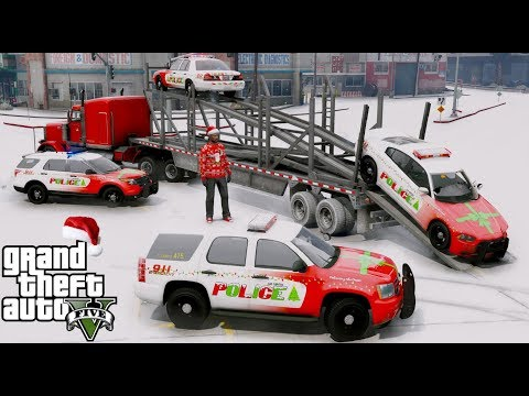 ANOTHER DAY AT WORK #30 GTA 5 REAL LIFE MOD DELIVERING CHRISTMAS THEMED POLICE CARS TO THE LSPD