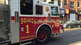 fdny squad 1 returning to quarters on union street in prospect height brooklyn in new york city