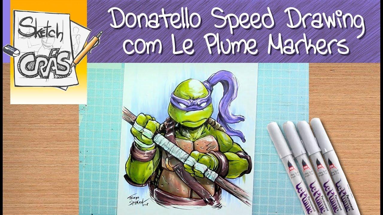 Donatello Turtles Sketch com Le Plume Markers - YouTube