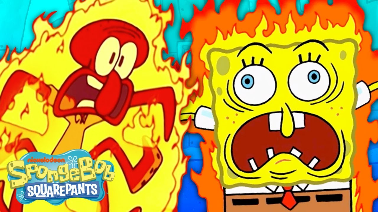 Every Time Someone Catches on Fire 🔥 🤯 | SpongeBob
