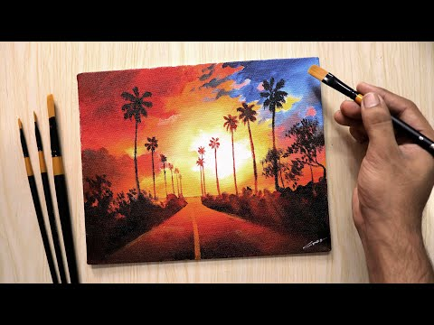 Acrylic painting | Landscape drawing for beginners with Acrylic paints | landscape painting