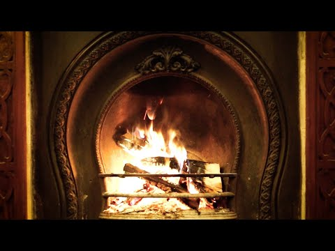 Classic Old School Winter Guitar Music   Cozy Fireplace With Crackling Sounds
