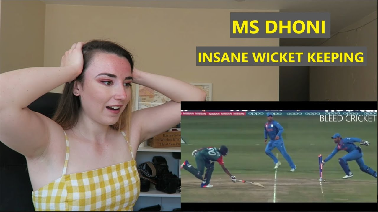 British Girl Reacts To MS Dhoni Wicket Keeping Skills