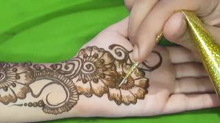 New Easy and Simple Floral Arabic Henna design for hands | Step By Step Tutorial