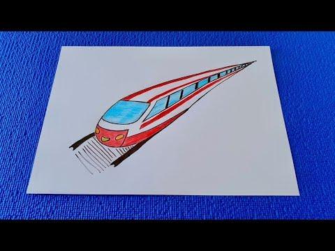 Как нарисовать поезд с вагонами карандашом