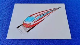 Как просто нарисовать Скоростной поезд.Простые рисунки для личного дневника.