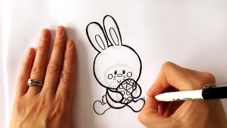 How to Draw a Cartoon Easter Bunny Holding an Easter Egg