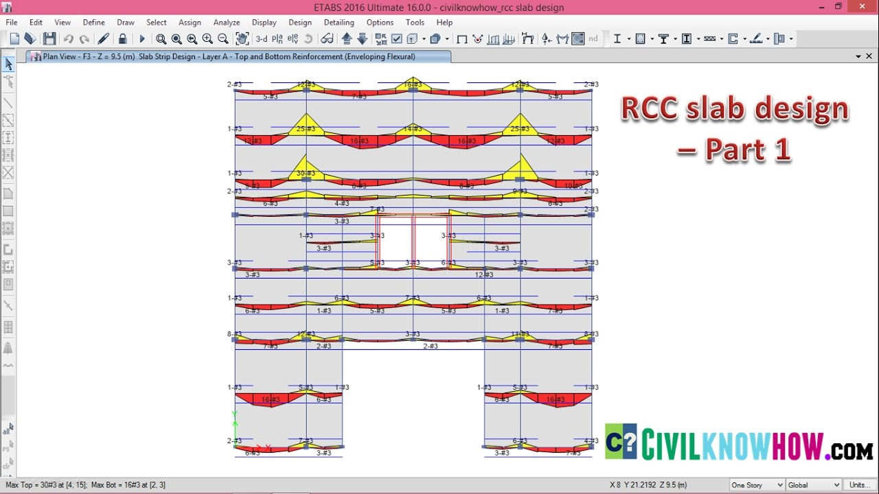RCC Slab Design in Etabs 2016 Part 1 Beginners Tutorial YouTube
