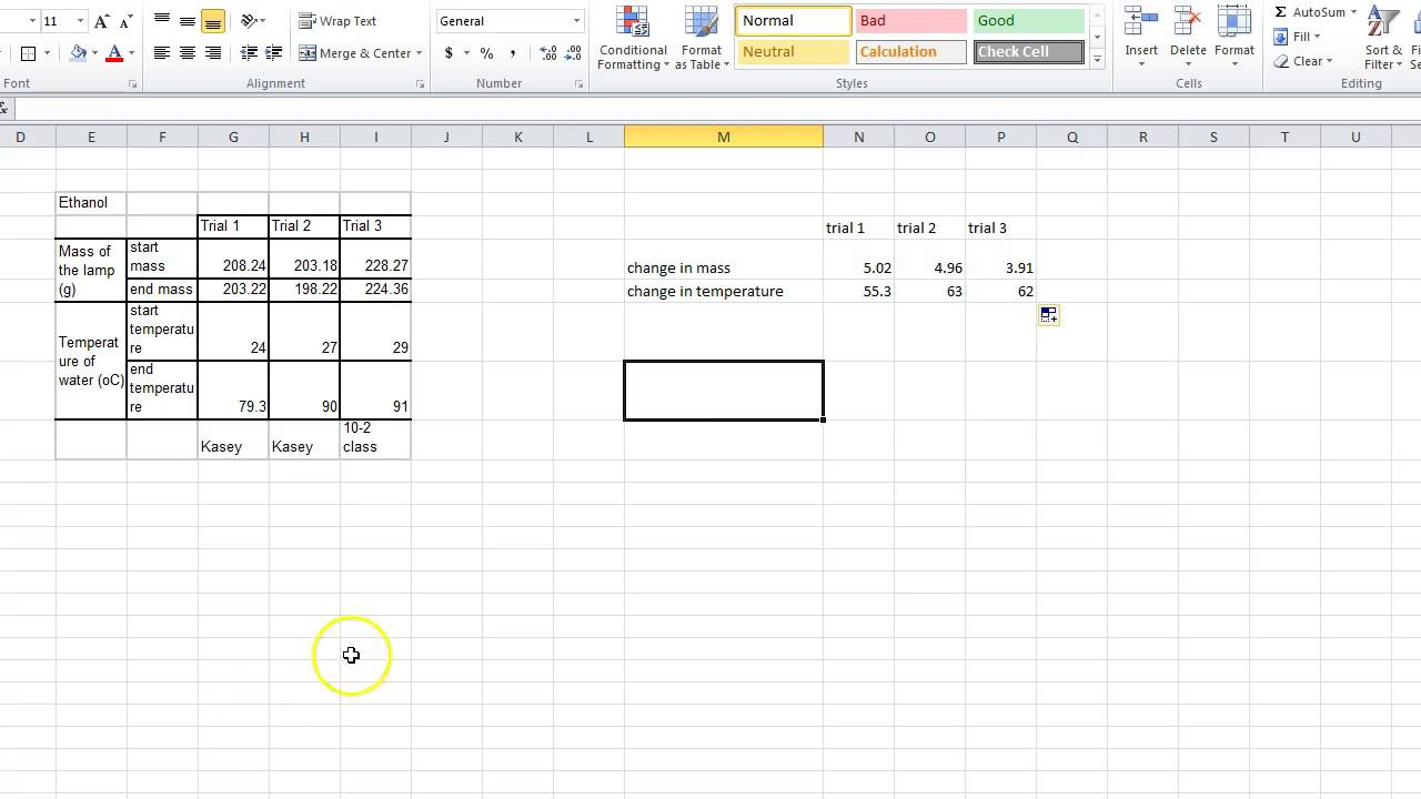 how to use excel to calculate bond enthalpy lab - YouTube