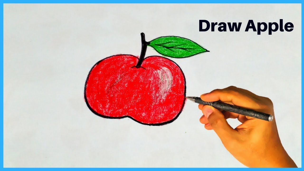 How to draw a apple with color pencil apple drawing step by step