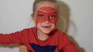 ☆彡Герои в масках Рисуем маску Алетт аквагрим перевоплощение🦉PJ Masks Owlette aqua makeup