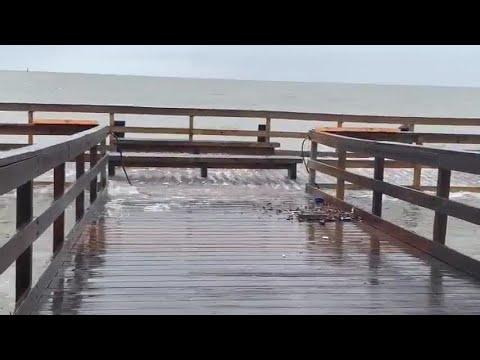 Biloxi Lighthouse Pier Damaged As Tropical Storm Cristobal
