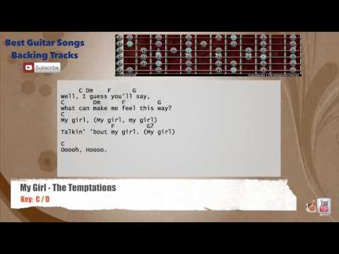 My Girl - The Temptations Guitar Backing Track with scale, chords and lyrics