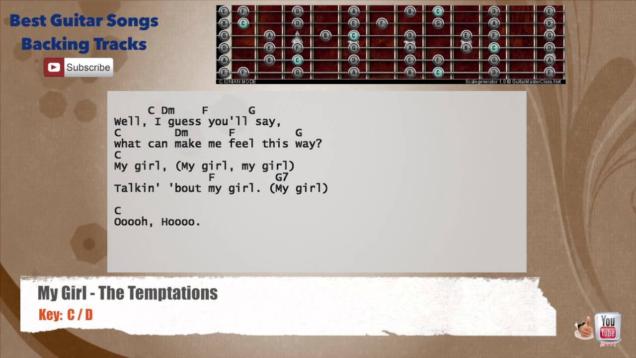 My Girl The Temptations Guitar Backing Track With Scale Chords