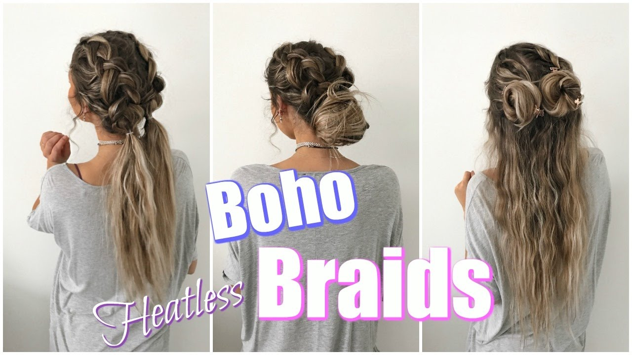 Boho Braids // Quick & Easy Heatless Hairstyles! - YouTube