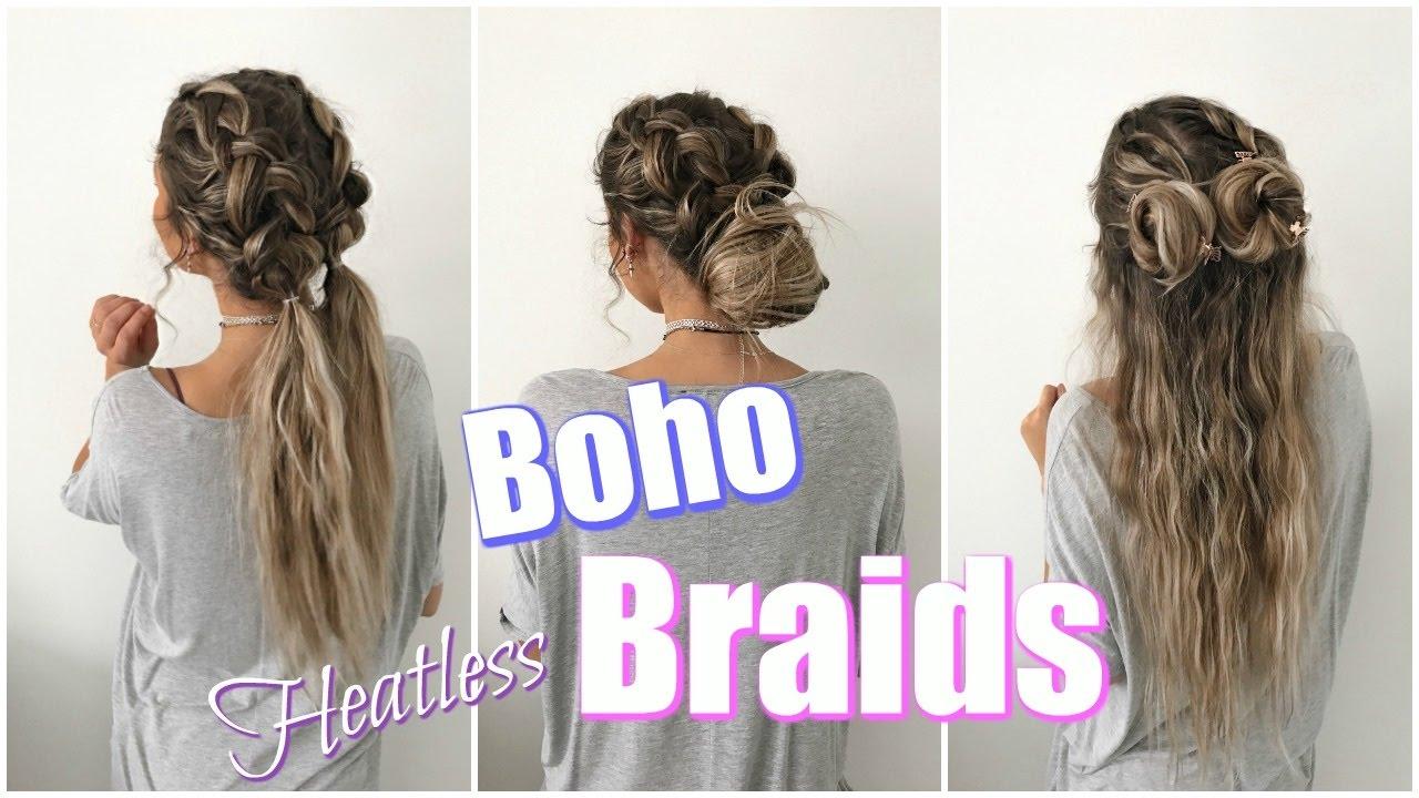 Boho Braids Quick Amp Easy Heatless Hairstyles Youtube