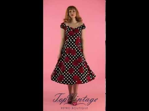 TopVintage - 50s Dolores Rosie Swing Dress in Black White Polka Dot
