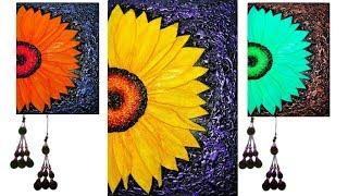 How To Make Beautiful 3d Sunflower Mural | Diy 3d Sunflower Wall Decor | Sunflower Mural Art