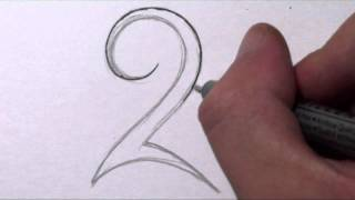 How To Draw a Simple Tribal Number 2