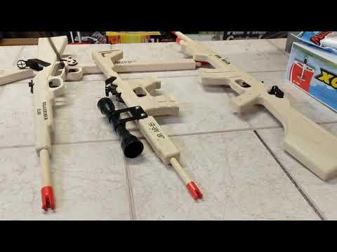 Magnum wooden rubber band guns
