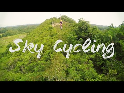 Riding a Bike Zipline - Chocolate Hills Adventure Park, Bohol, Philippines