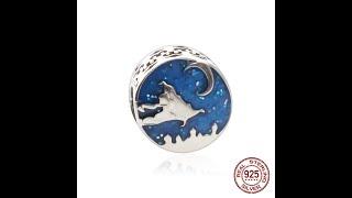 Синий стиль звезда браслет из бисера женский шарм diy ювелирные изделия 925 серебряный кулон в виде