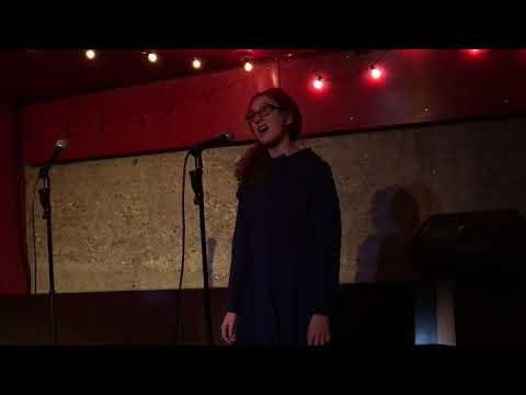 Lia singing karaoke at the Kirk Douglas Theater after Spamilton 1/5/18