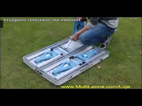 MultiLeone - Conjunto Mesa Maleta Dobrável com 4 Banquetas em Alumínio, Camping, Piquenique