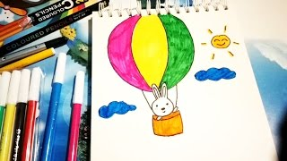 How to draw Hot air balloon for children