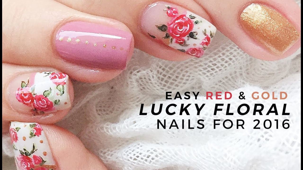 RED AND GOLD SPRING FLORAL NAILS for 2016   Annabel Lee - YouTube