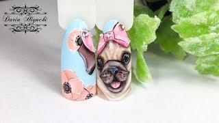 Весенний Мопсик! Красивые Животные на Ногтях! Дизайн Ногтей!