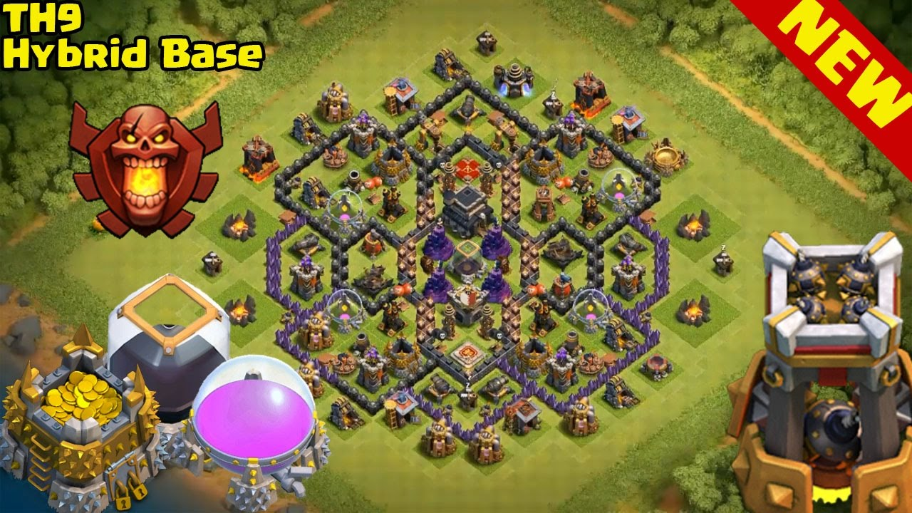 Clash of clans town hall 9 best hybrid base layout with bomb tower clash of clans town hall 9 best hybrid base layout with bomb tower youtube sciox Choice Image