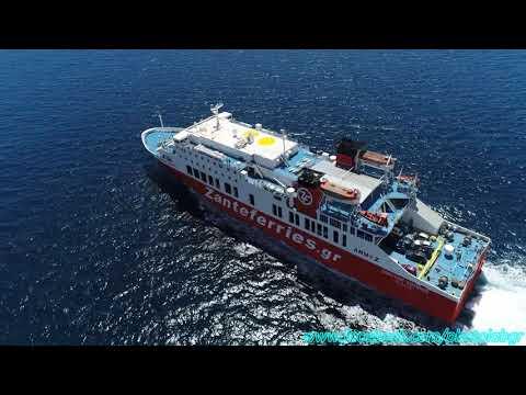 Aerial (drone) video -  F/B Dionysios Solomos leaving Piraeus
