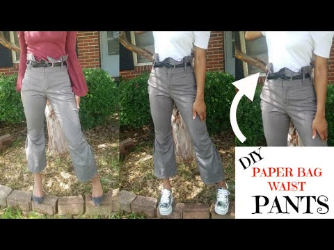 DIY HIGH WAIST PAPER BAG PANTS |For beginners | SIMPLE TUTORIAL | THRIFTED TRANSFORMATION