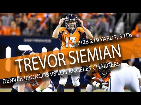 Trevor Siemian Highlights vs Chargers // 17/28 219 Yards, 3 TDs // 9.11.17