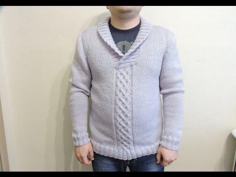 мужской свитер, вязание спицами