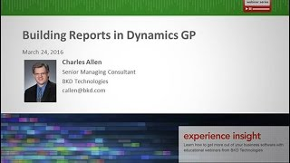 Building Reports in Dynamics GP